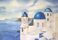 Blue Domes Of Santorini
